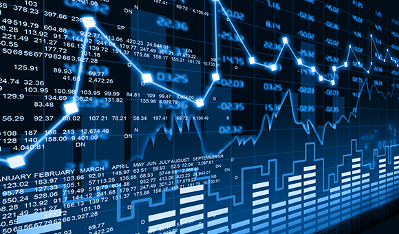 Image of stock charts with numbers and graphs