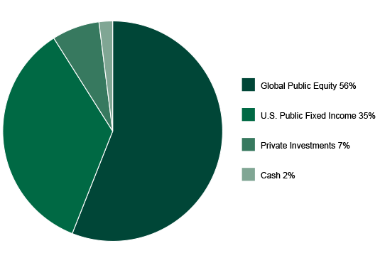 Image of pie chart for Global Impact fund asset allocations